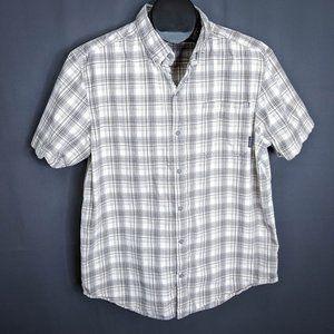 Columbia Mens Shirt Large Tan Plaid Short Sleeve
